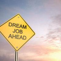 Yellow road warning sign , Dream Job Ahead , 3d render